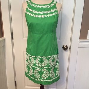 🌴LILLY PULITZER DRESS GREEN WHITE EMBROIDERY 6